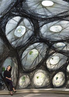 University of Stuttgart unveils carbon-fibre pavilion based on beetle shells, Germany.