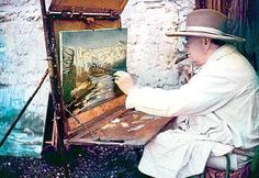Winston Churchill in the south of France. A lefty.
