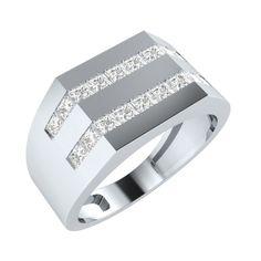 MENS 14K White GOLD 1CT Diamond Wedding Princess Cut RING SIZE 8,9,10,11,12,13, #Panachejewels #EngagementWrapRingSet