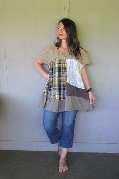 Upcycled clothing patchwork dress tunic X by lillienoradrygoods