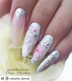 279 Likes, 1 Comments – Only creative nails and st… Fancy Nails, Cute Nails, Pretty Nails, My Nails, Flower Nail Designs, Flower Nail Art, Nail Art Designs, Nail Art Fleur, Elegant Nail Art