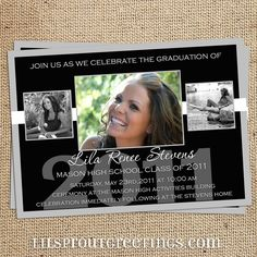 Black White Graduation Announcement - Class of 2020 Graduation Invitation - Open House Party Ceremony - Print your own PDF JPEG- High School Senior Invitations, Graduation Invitations, Graduation Ideas, Graduation 2015, Invitation Ideas, Graduation Gifts, Open House Parties, House Party, Grad Announcements