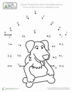 Preschool Kindergarten Dot-to-Dots The Alphabet Worksheets: Alphabet Dot-to-Dot Dog House