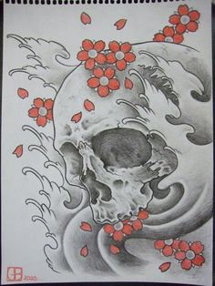 4ce85f8fb388 Black And Grey Tattoo Skull Flash Black And Grey Skull With Japanese Wave  Tattoos