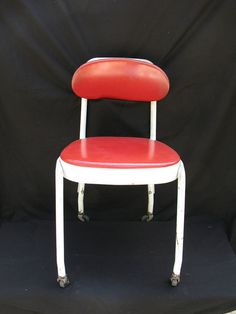 Vintage Rolling Stenographers Chair Red and White Adjustable Chair