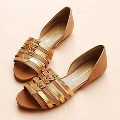 De cuero de las mujeres talón plano Confort zapatos de las sandalias – USD $ 99.99