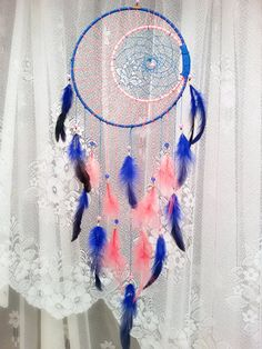 Pink and Blue Dream Catcher Bohemian Dream by DreamyFlowerWonder