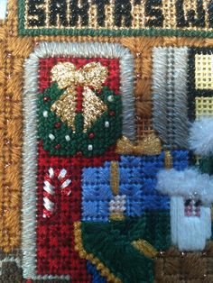 I spent Sunday afternoon and lunch break on Monday finishing this. Off to the finishers. Needlepoint Stitches, Needlepoint Patterns, Needlework, Craft Projects, Projects To Try, Craft Ideas, Needlepoint Christmas Stockings, Diy And Crafts, Amy