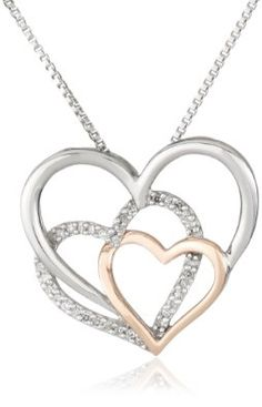 "Amazon.com: XPY Sterling Silver and 14k Pink Gold Diamond Triple Heart Pendant Necklace, 18"" (1/10 cttw, I-J color, I2-I3 clarity): Jewelry"