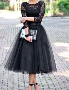 Hot Sell Black Tea Length Lace Bodice Tulle Skirt Cocktail Dresses With Length Sleeve 2017 New Prom Gowns Bridesmaid Party Dress Ball Gown