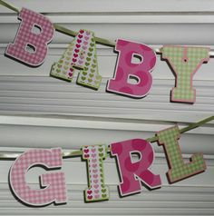 Baby Girl Banner Letter Banner  Pink Green  by APaperPlayground, $10.00