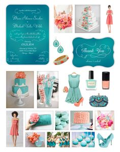 Coral & Turquoise Wedding Inspiration - Aquamarine Ombre Wedding - Coral & Teal Wedding -- Blue Ombre Wedding Invitation and Thank You Card designed by Lauren DiColli Hooke for KleinfeldPaper.com