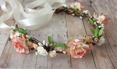 Pink Peach Flower Crown rustic wedding Bohemian by rosesandlemons, $50.00