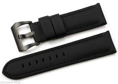 24mm Genuine Black Kevlar Leather 3 Stitch Mens Watch Strap Band PVD Pin Buckle