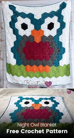 Night Owl Blanket Free Crochet Pattern #crochet #crafts #owl #style #homedecor #blanket