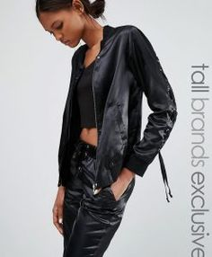 Buy Black Noisy may tall Bomber jacket for woman at best price. Compare Jackets prices from online stores like Asos - Wossel United States Asos, Coats For Women, Jackets For Women, Clothes For Women, Black Bomber Jacket, Leather Jacket, Tall Clothing, Noisy May, Style