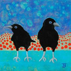 """Crow Fledglings with Red Dots"" by Kathleen A. - ""Crow Fledglings with Red Dots"" by Kathleen A. ""Crow Fledglings with Red Dots"" by Kathleen A. Crow Art, Raven Art, Bird Art, Art And Illustration, Illustrations, Vogel Quilt, Bird Quilt, Tinta China, Crows Ravens"