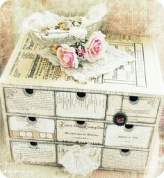 Ikea wood storage chest, covered in vintage paper ~ vintage & shabby ❤