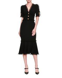 Lace-Trim Tiger-Button Cady Dress, Black by Dolce & Gabbana at Bergdorf Goodman. Dolce & Gabbana, Vestido Dolce Gabbana, Dress With Bow, Dress Me Up, Dress Black, Bergdorf Goodman, Dress Skirt, Lace Dress, Pretty Dresses