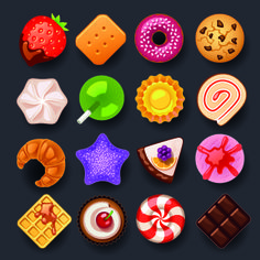 Vivid food icon design vector 04