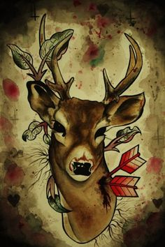 Beautiful deer tattoo, I would lose the arrows though.