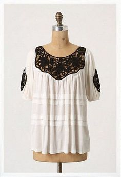 $98 Anthropologie Leifnotes Ivory Black Lace Inset Dieppe Top  Size Small
