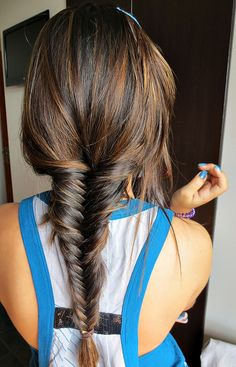Fishtail braid & hair color dark brown with Carmel highlights