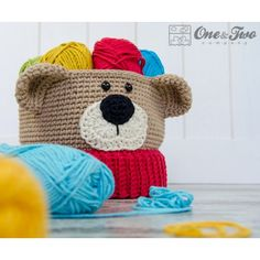 Teddy Bear Basket - Crochet Pattern by One and Two Company teddy bears, crochet patterns