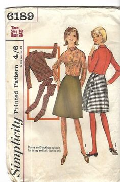 "Vintage 1960's Sewing Pattern Simplicity 6189 Skirt Top Stockings Rare B 36"" #Simplicity"