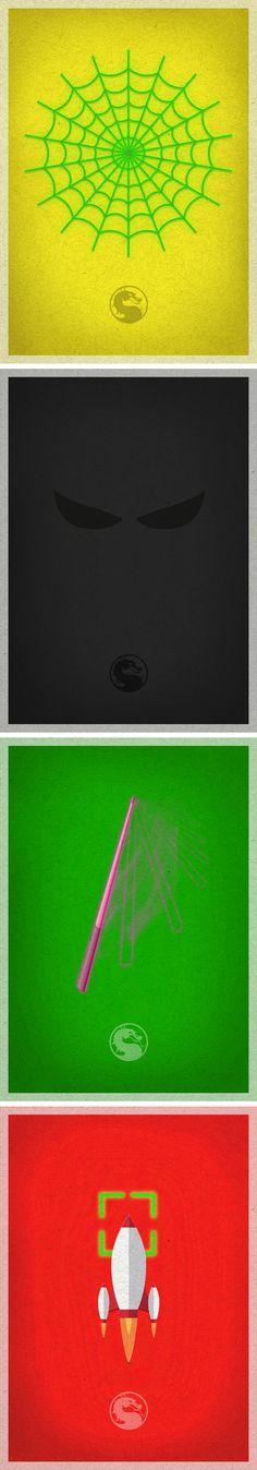 Set of Mortal Kombat's characters minimalist posters. Cyrax, Noob, Jade and Sektor