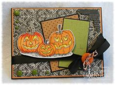 The Inking Spot of Crain Creations by Tangii Crain. Pumpkins Three by Just Inklined stamps. #cards, #copics, #stamping, #Halloween