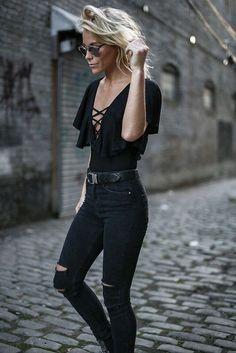 Love the outfit other than the rips in the jeans. (That part is just tacky fad crap, frankly. No interest.)