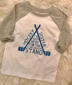 Hockey Sister Shirt // Hockey Sister Raglan // Im just here for the Concession Stand Tee // Sports Sister Shirt - Funny Sister Shirts - Ideas of Funny Sister Shirts - Hockey Sister Shirt // Hockey Sister Raglan // Im just here Hockey Gifts, Hockey Mom, Hockey Stuff, Field Hockey, Total Hockey, Youth Hockey, College Basketball, Sister Shirts, Shirts For Girls