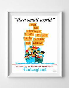 Vintage Disneyland Poster Print It's a Small World by InkistPrints