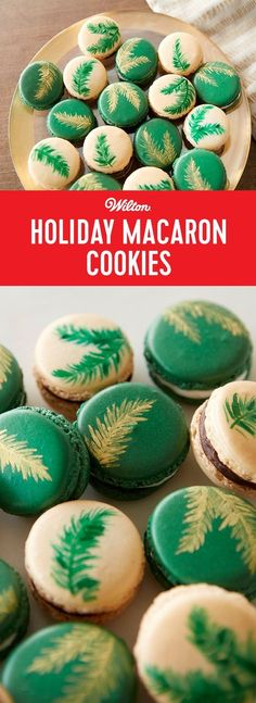 Holiday Macaron Cookies - These festive decorated macaron cookies pay tribute to the delicate French pastry with their deep, trendy colors, metallic accents and yummy choice of two icing fillings. Stunningly beautiful, serve these macarons for dessert after Christmas dinner for an outstanding finale to the holiday celebration. #christmascookies #macarons #wiltoncakes
