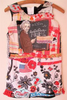 Altered EINSTEIN T SHIRT Wearable Folk Art Collage Clothing Vintage Recycled Materials  mybonny random scraps of fabric