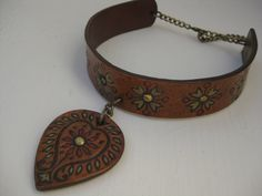 Paisley Tooled Leather Choker Adjustable Brass Studs and Hand Painted flowers