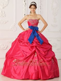 Simple Coral Red Quinceanera Dress Strapless Taffeta Beading and Sash Ball Gown  http://www.fashionos.com    Accented by colorful beadings throughout, the light sweetheart neckline bodice contours your figure. The exquisite butterfly embellishment with a slit at the front gives you a romance!Draping ruffles Scattered with appluques make the skirt sassy and flowing.