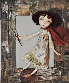 Crazy quilting Framed Dolls