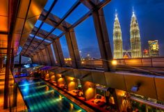 The amazing Sky Bar, Kuala Lumpur. I was lucky enough to party here with work last year. It is every bit as fabulous as it looks.