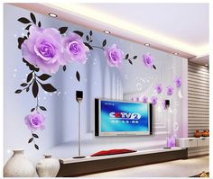 Wallpaper European Purple Roses Large Mural Living Room TV Background for sale online Wall Art Designs, Paint Designs, Wall Design, Wall Stickers Wallpaper, Painting Wallpaper, Modern Wallpaper, Home Wallpaper, Grey Wallpaper, Cartoon Wallpaper