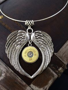 Bullet Jewelry - Bullet Heart / Wing Necklace w/  12 Gauge