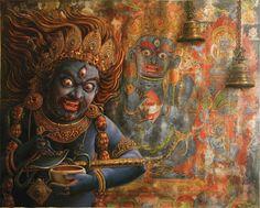 Bhairava, painting by Uday Charan Shrestha, modern newari pauba, Nepal