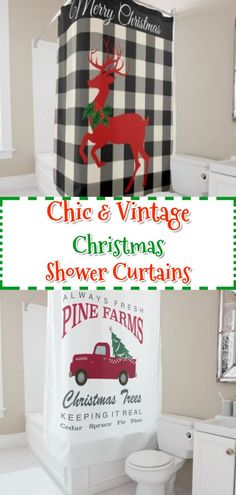 The best red truck, vintage, farmhouse Christmas shower curtains | Christmas Bathroom Decor