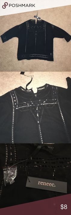 """Black Top with Art Deco look w/cut outs, Large I receive this in one in a Golden tote box. I liked everything so I kept the box, I just never reached for this. This has never been worn new with tags. Renée C is the brand size large. Read the tag according to it you should not """"bleah"""" ha ha 😬😆 It is a sheer like material so you'll need to wear a cami under it. It can be dressed up or be warm casually in my opinion renee c. Tops"""