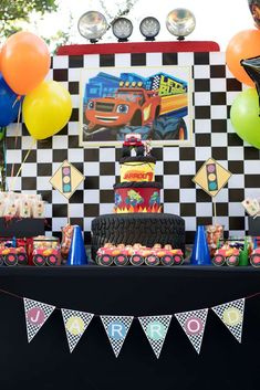 Check out this cool birthday cake at this Blaze and the Monster Machines Birthday Party!! See more party ideas and share yours at CatchMyParty.com #catchmyparty #partyideas #blazeandthemonstermachine #blazeandthemonstermachinebirthdayparty #carsandtrucksdesserttable #boybirthdayparty