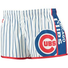 Women's Chicago Cubs Royal/Red Pinstripe Shorts
