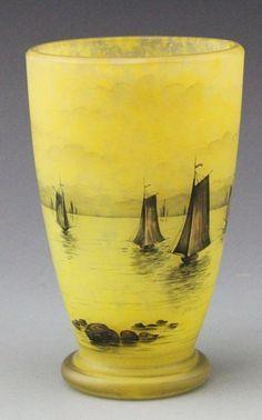 Daum Nancy Cameo glass Vase Nautical Scene, French Circa 1895-1920 Measures 5 3/4 Inches in Height, inspiraton