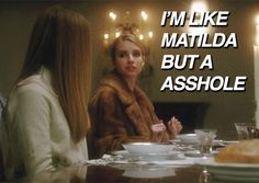 this is the most perfect description of Madison Scream Queens Quotes, Madison Montgomery, American Horror Story Coven, The Neighbor, Horror Show, Queen Quotes, Ahs, Horror Stories, Movies And Tv Shows