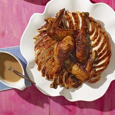 Smoky Turkey with Apple-Cider Gravy Thanksgiving Side Dishes, Thanksgiving Recipes, Holiday Recipes, Thanksgiving Holiday, Christmas Recipes, Smoked Turkey, Xmas Food, Turkey Recipes, Chicken Recipes